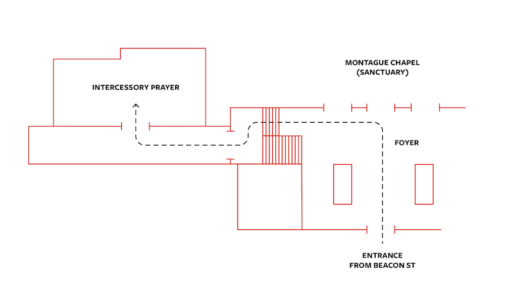 map of Temple Office Foyer and location of Intercessory Prayer