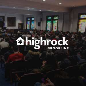 Photo of people sitting the seats on a Sunday morning at Highrock Brookline with the Highrock logo overlaid