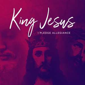 King Jesus sermon series, mural of Jesus with crown next to Jesus on cross